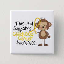 This Kid Supports Childhood Cancer Awareness Button