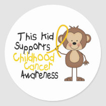 This Kid Supports Childhood Cancer Awareness Classic Round Sticker