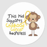This Kid Supports Childhood Cancer Awareness Round Sticker