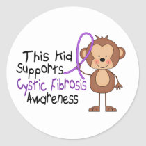 This Kid Supports Cystic Fibrosis Awareness Classic Round Sticker