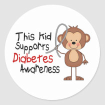 This Kid Supports Diabetes Awareness Classic Round Sticker