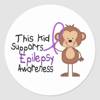 This Kid Supports Epilepsy Awareness Classic Round Sticker
