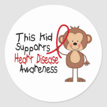 This Kid Supports Heart Disease Awareness Classic Round Sticker