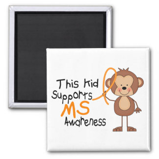 This Kid Supports MS Awareness 2 Inch Square Magnet