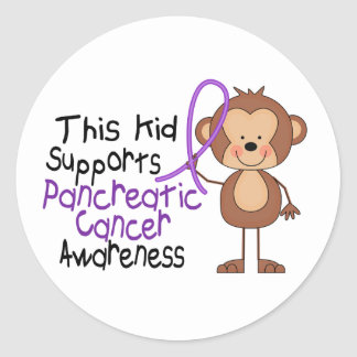 This Kid Supports Pancreatic Cancer Awareness Classic Round Sticker