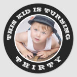 """This Kid&#39;s Turning Old! Custom Birthday Age Classic Round Sticker<br><div class=""""desc"""">This cute kid is getting old! So share the fun and decorate favors,  invitation envelopes,  goody bags,  or anything,  with this great sticker that features a photo and your customized milestone age.  Perfect for a thirty,  forty,  fifty,  or sixty birthday!</div>"""