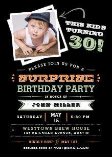 This Kids Turning Old Surprise Birthday Photo Invitation