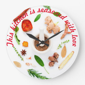 This kitchen is seasoned with love large clock