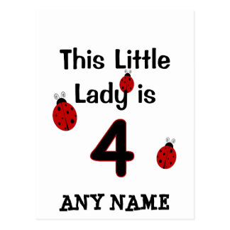 This Little Lady is 4!  Ladybug T-shirt for girls! Postcard