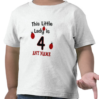 This Little Lady is 4!  Ladybug T-shirt for girls!