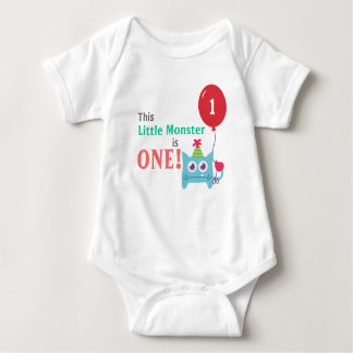 This Little Monster is One, First Birthday, Baby Bodysuit