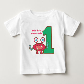 This little monster is one, first birthday infant t-shirt