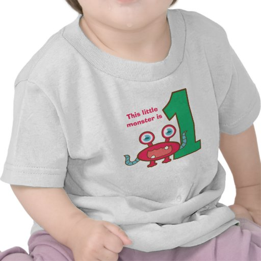This little monster is one, first birthday t-shirts