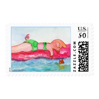 This Little Pig Girl loves Floating & Chatting Postage