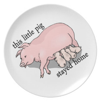 This Little Pig Stayed Home Dinner Plate