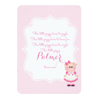 """This Little Piggy"" First Birthday Invite"