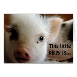 """THIS LITTLE PIGGY IS """"GLAD U R OVER THE HILL"""" GREETING CARD"""