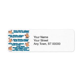 this little piggy nursery rhyme cartoon return address label