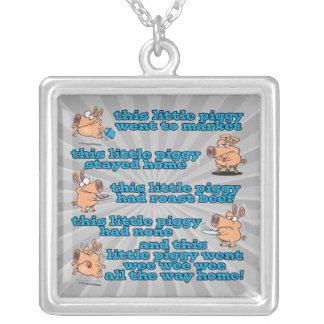 this little piggy nursery rhyme cartoon square pendant necklace