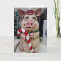 "THIS LITTLE PIGGY SAYS ""MERRRRRY CHRISTMAS"" HOLIDAY CARD"