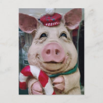 THIS LITTLE PIGGY SAYS MERRY CHRISTMAS HOLIDAY POSTCARD