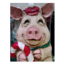 THIS LITTLE PIGGY SAYS MERRY CHRISTMAS POSTCARD