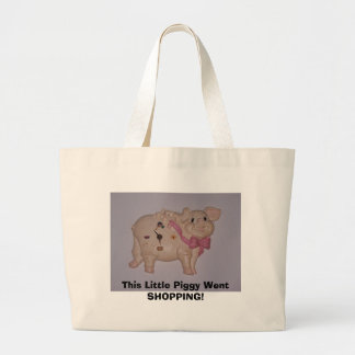 This Little Piggy Went SHOPPING! Large Tote Bag