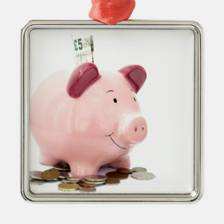 this little piggy went to the bank metal ornament