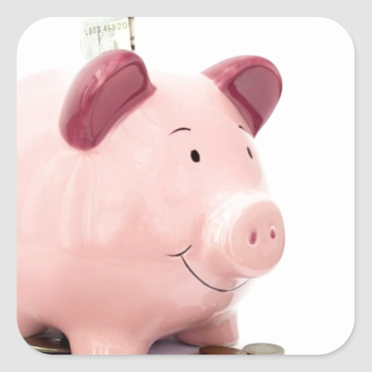 this little piggy went to the bank square sticker