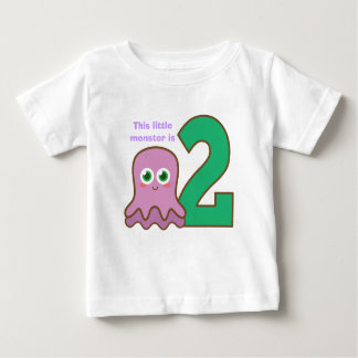 This little purple monster is two, second birthday baby T-Shirt