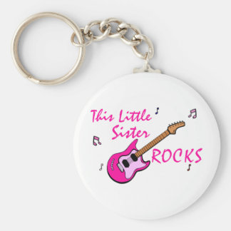 This Little Sister Rocks Keychain