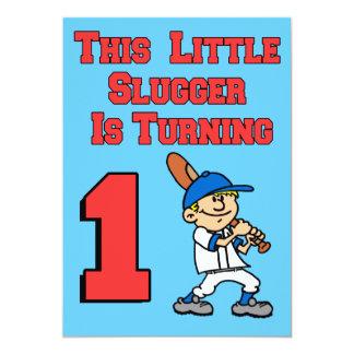 This Little Slugger Is Turning 1 Baseball Theme Card