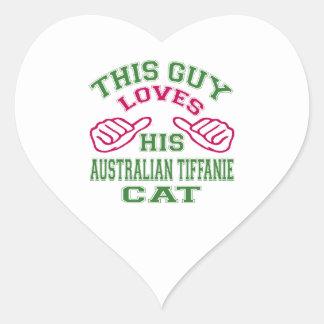 This Loves His Australian Tiffanie Cat Heart Sticker