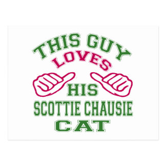 This Loves His Scottie chausie Cat Postcard