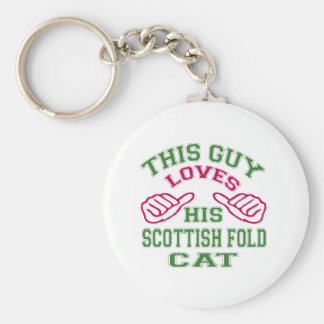 This Loves His Scottish Fold Cat Key Chains