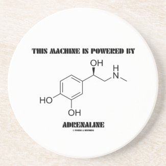 This Machine Is Powered By Adrenaline (Molecule) Beverage Coasters