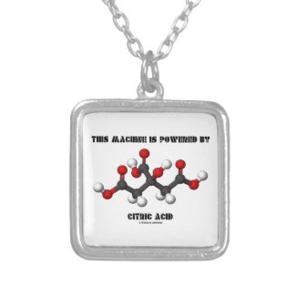 This Machine Is Powered By Citric Acid Chemistry Square Pendant Necklace