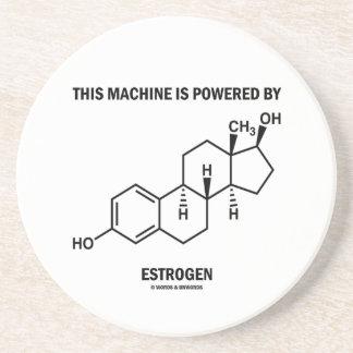 This Machine Is Powered By Estrogen (Molecule) Sandstone Coaster