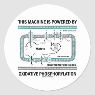 This Machine Powered By Oxidative Phosphorylation Classic Round Sticker