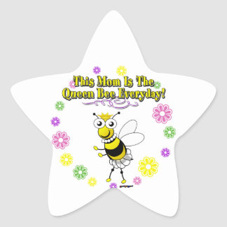 This Mom Is The Queen Bee Everyday Bee Flower Ring Star Sticker