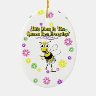 This Mom Is The Queen Bee Everyday Bee & Flowers Ceramic Ornament