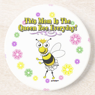 This Mom Is The Queen Bee Everyday Bee & Flowers Drink Coaster