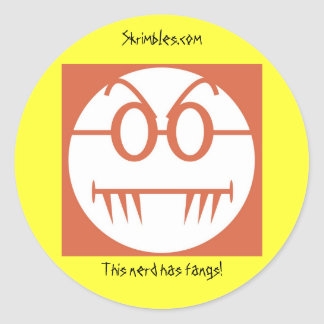 This nerd has fangs! classic round sticker