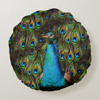 This peacock is watching you! round pillow