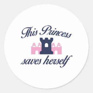 This Princess Saves Herself Classic Round Sticker