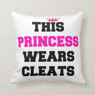 This princess wears cleats throw pillow