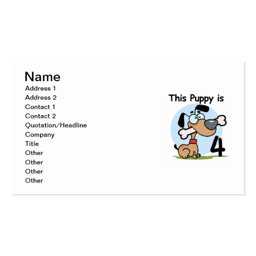 This Puppy 4th Birthday Tshirts and Gifts Business Card
