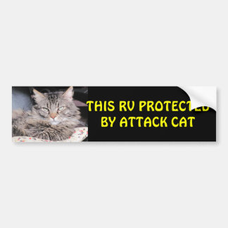 This RV Protected by Attack Cat Bumper Sticker