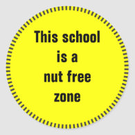 This school is a nut free zone classic round sticker
