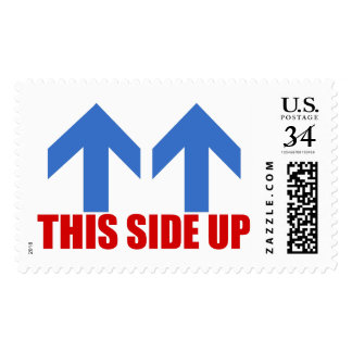 This side up. postage